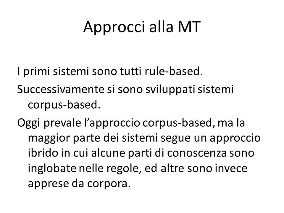 Approcci alla MT I primi sistemi sono tutti rule-based.