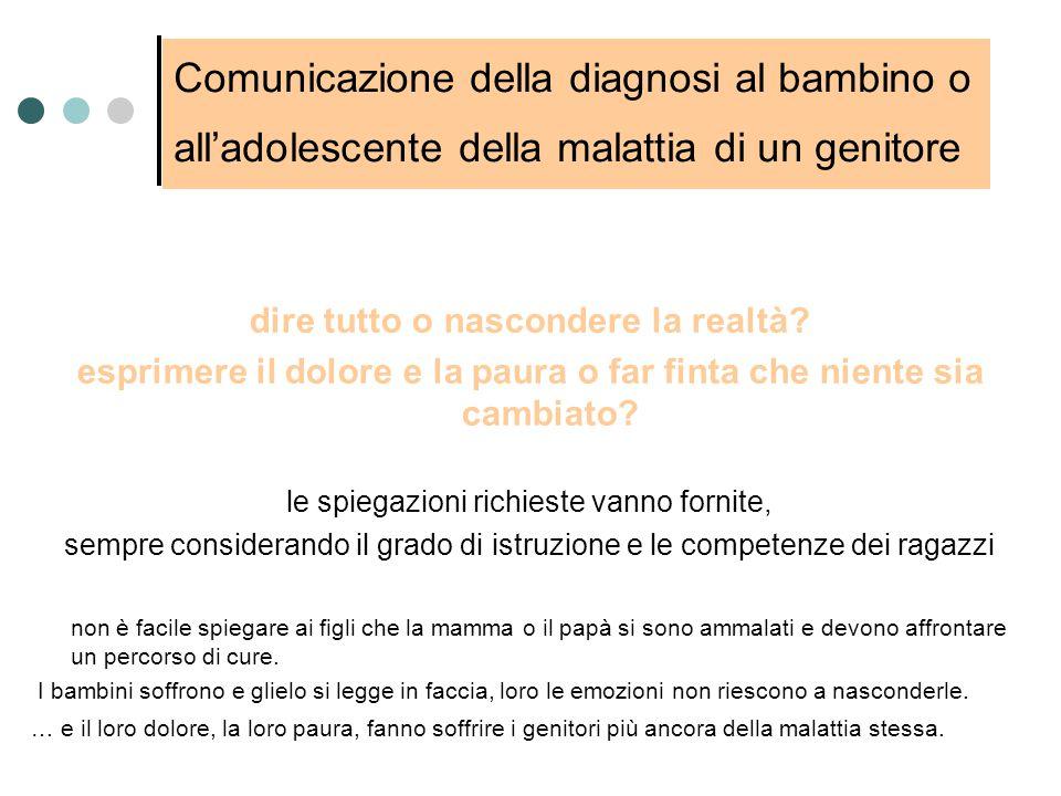 Comunicazione della diagnosi al bambino o all'adolescente della malattia di un genitore dire tutto o nascondere la realtà? esprimere il dolore e la pa