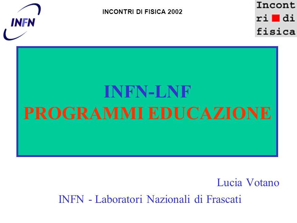 INFN-LNF PROGRAMMI EDUCAZIONE Lucia Votano INFN - Laboratori Nazionali di Frascati INCONTRI DI FISICA 2002