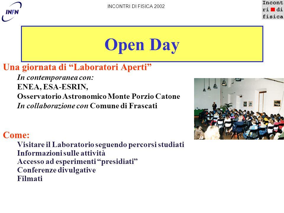 """Open Day Una giornata di """"Laboratori Aperti"""" In contemporanea con: ENEA, ESA-ESRIN, Osservatorio Astronomico Monte Porzio Catone In collaborazione con"""