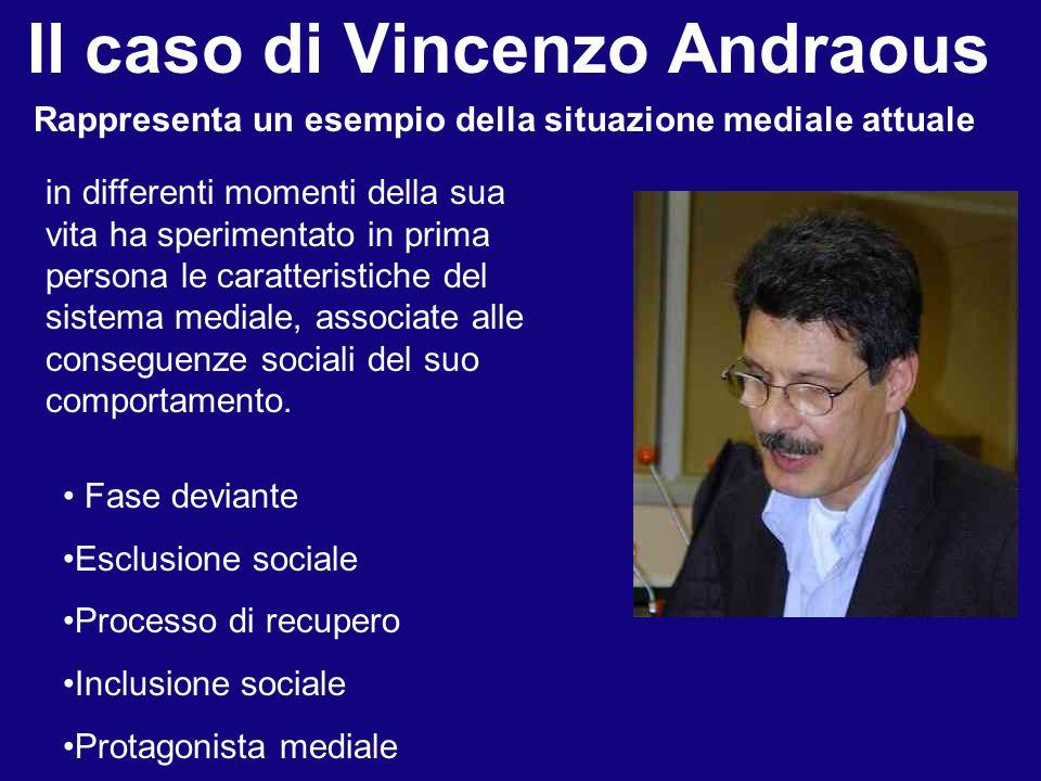 Il caso di Vincenzo Andraous Rappresenta un esempio della situazione mediale attuale in differenti momenti della sua vita ha sperimentato in prima persona le caratteristiche del sistema mediale, associate alle conseguenze sociali del suo comportamento.