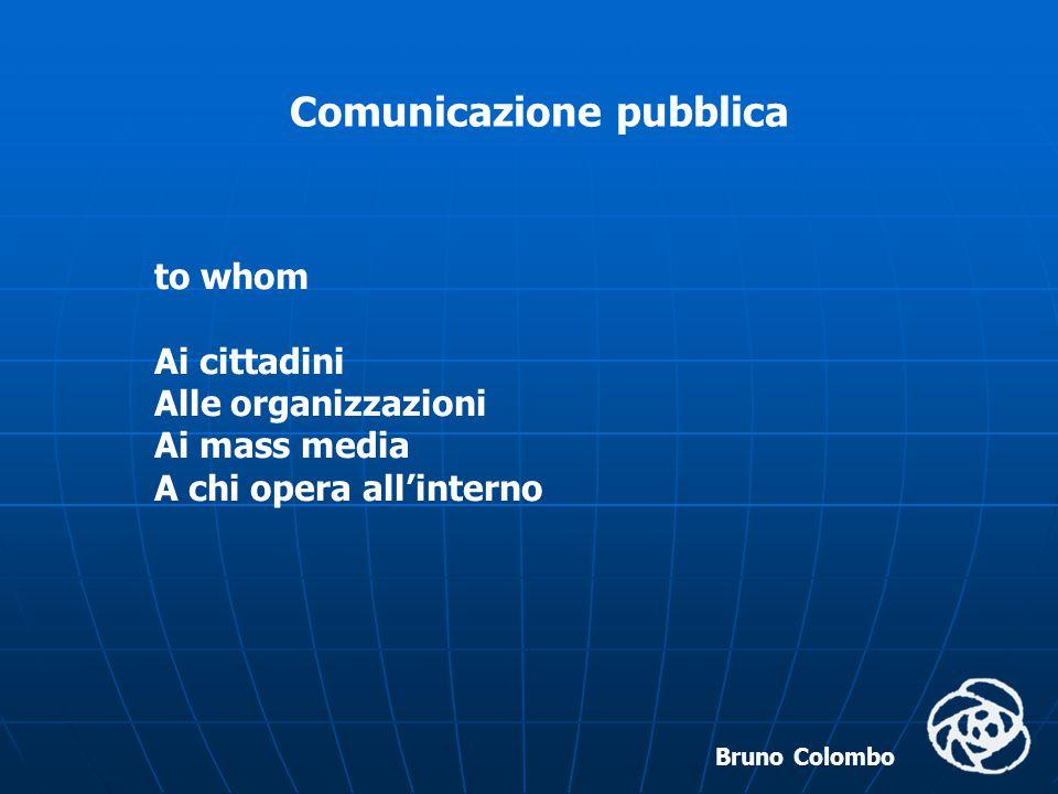 Bruno Colombo Comunicazione pubblica with what effect Garantire il diritto all'informazione Costruire e promuovere l'identità dell'ente pubblico Produrre un cambiamento di mentalità all'interno della pubblica amministrazione