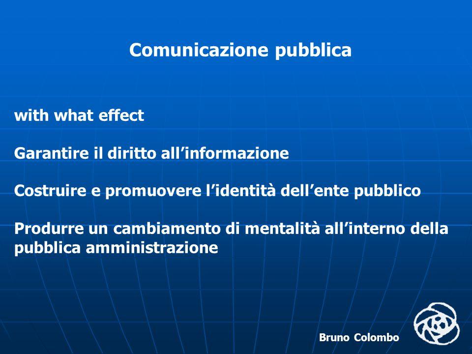 Bruno Colombo Politica di comunicazione (Foglio, 2003) Il servizio pubblico, oltrechè ideato, elaborato, dovrà anche essere comunicato e promozionato; solo così potrà essere preso in considerazione e accettato da parte della domanda