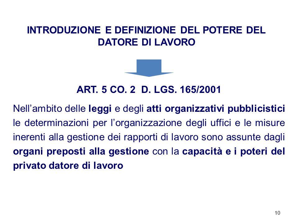 10 INTRODUZIONE E DEFINIZIONE DEL POTERE DEL DATORE DI LAVORO ART. 5 CO. 2 D. LGS. 165/2001 Nell'ambito delle leggi e degli atti organizzativi pubblic