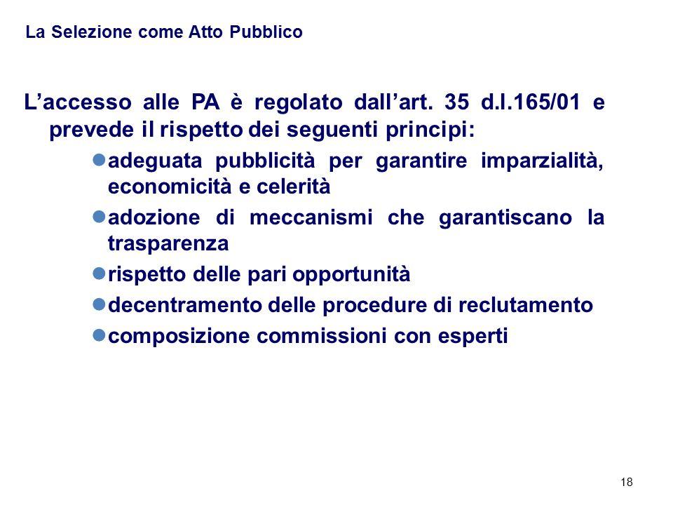 18 La Selezione come Atto Pubblico L'accesso alle PA è regolato dall'art. 35 d.l.165/01 e prevede il rispetto dei seguenti principi: adeguata pubblici