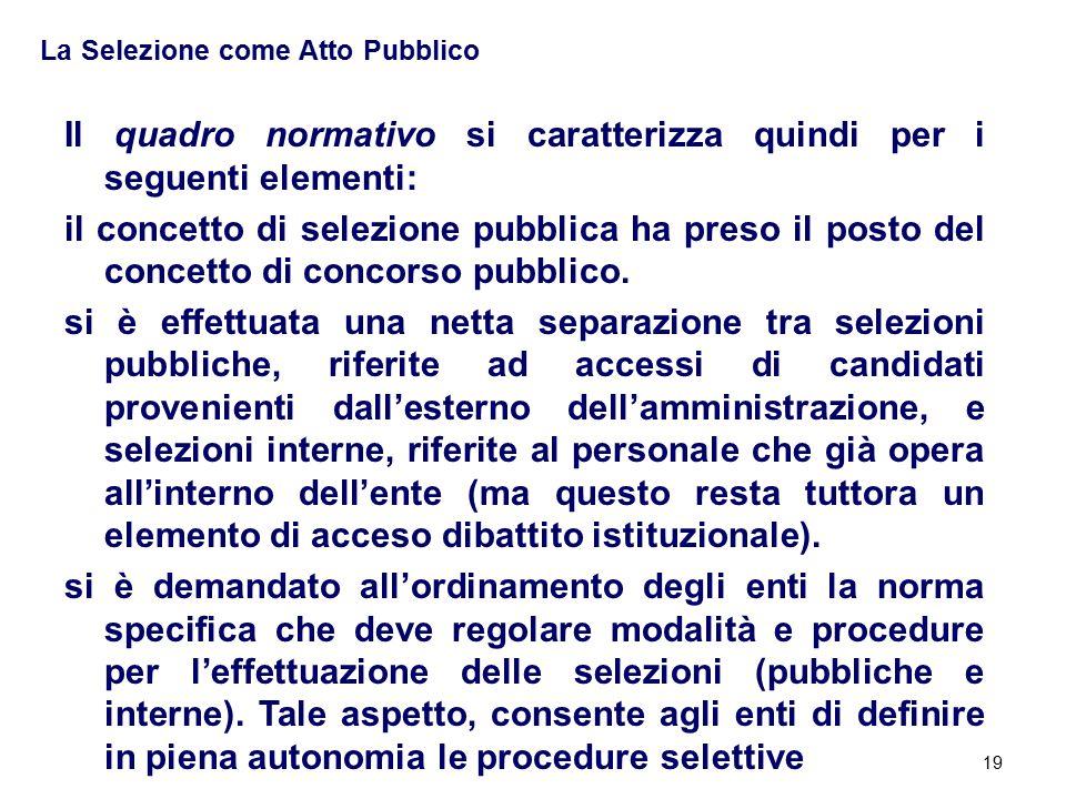 19 La Selezione come Atto Pubblico Il quadro normativo si caratterizza quindi per i seguenti elementi: il concetto di selezione pubblica ha preso il posto del concetto di concorso pubblico.