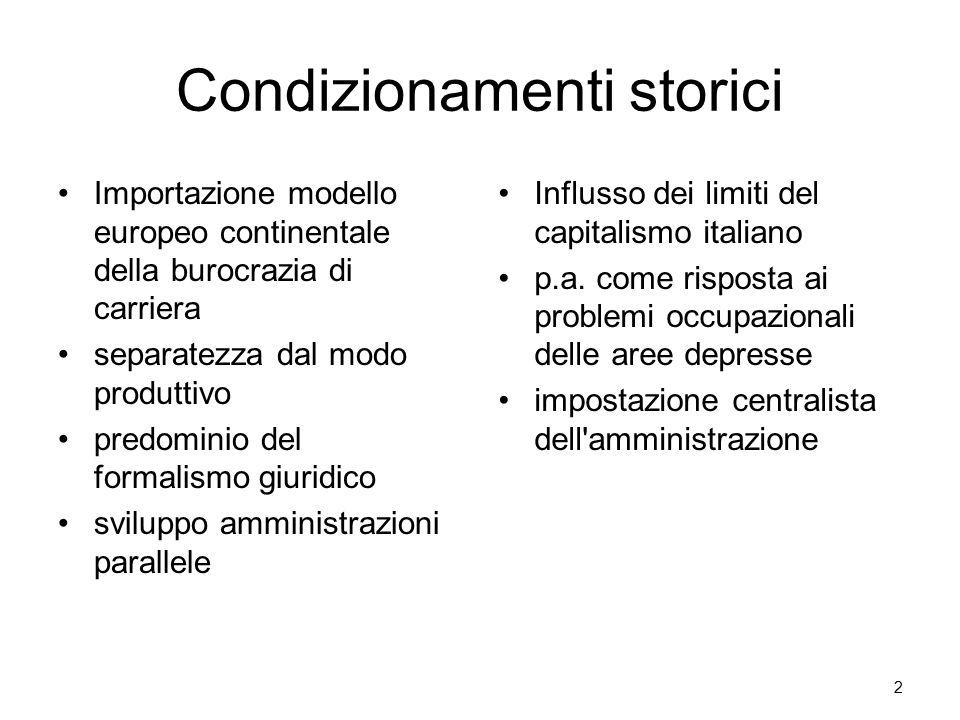 Condizionamenti storici Importazione modello europeo continentale della burocrazia di carriera separatezza dal modo produttivo predominio del formalismo giuridico sviluppo amministrazioni parallele Influsso dei limiti del capitalismo italiano p.a.
