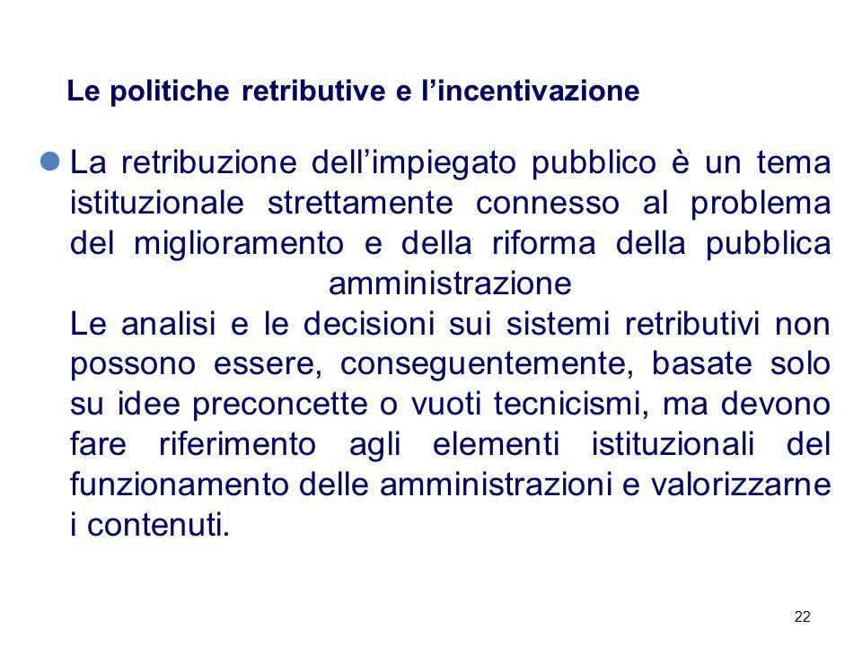 22 Le politiche retributive e l'incentivazione La retribuzione dell'impiegato pubblico è un tema istituzionale strettamente connesso al problema del m