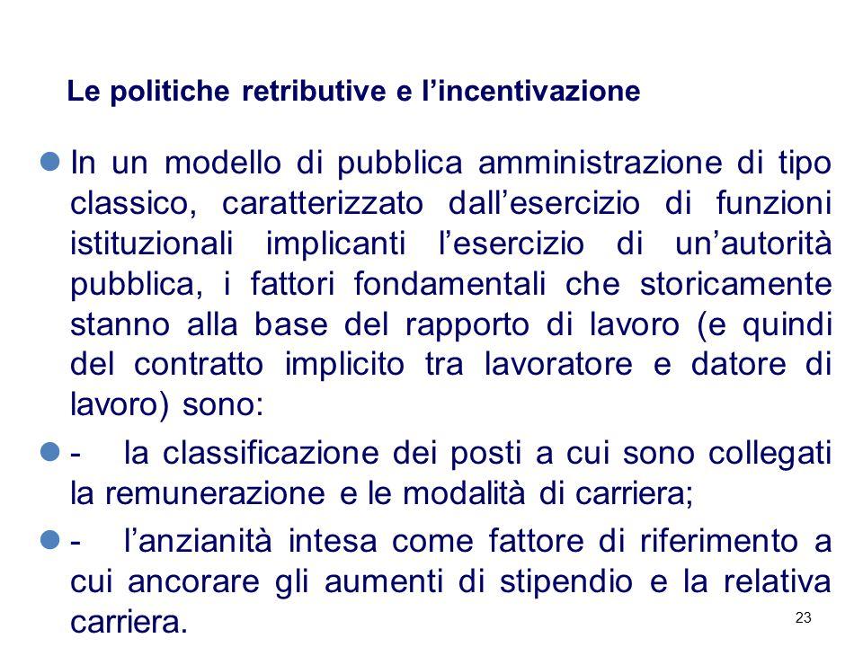 23 Le politiche retributive e l'incentivazione In un modello di pubblica amministrazione di tipo classico, caratterizzato dall'esercizio di funzioni i