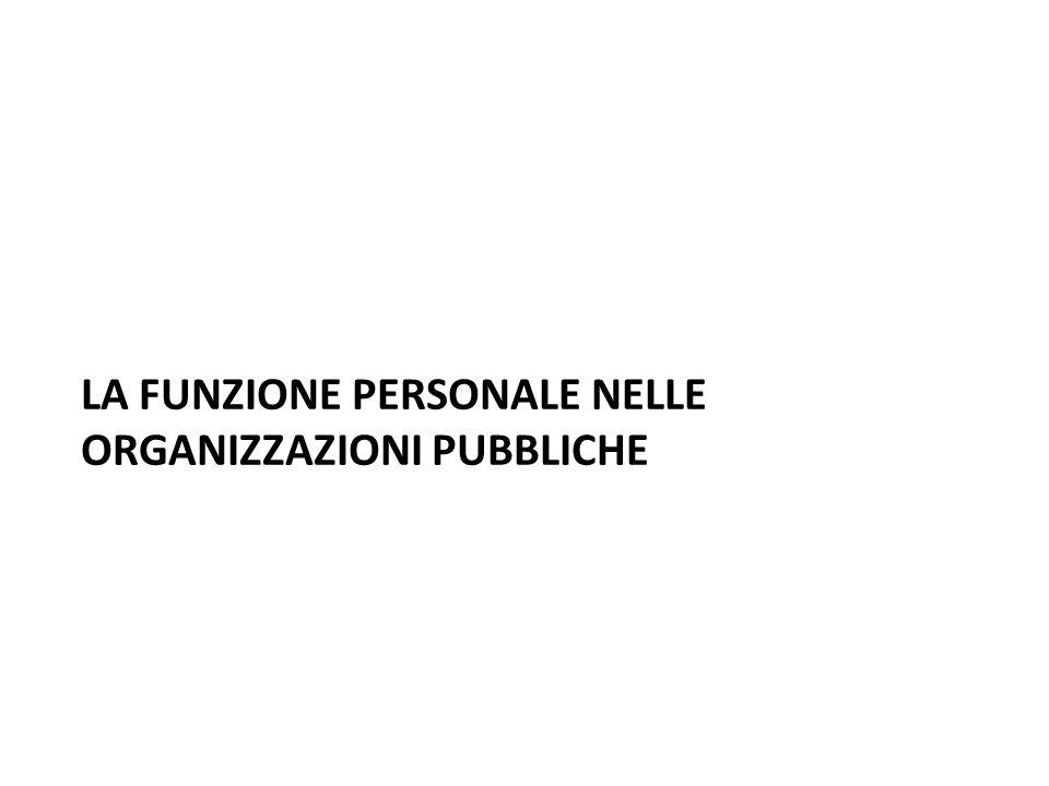 LA FUNZIONE PERSONALE NELLE ORGANIZZAZIONI PUBBLICHE