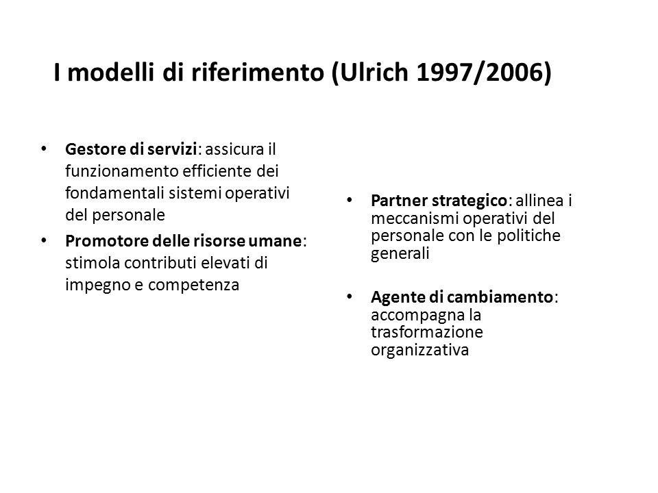 I modelli di riferimento (Ulrich 1997/2006) Gestore di servizi: assicura il funzionamento efficiente dei fondamentali sistemi operativi del personale