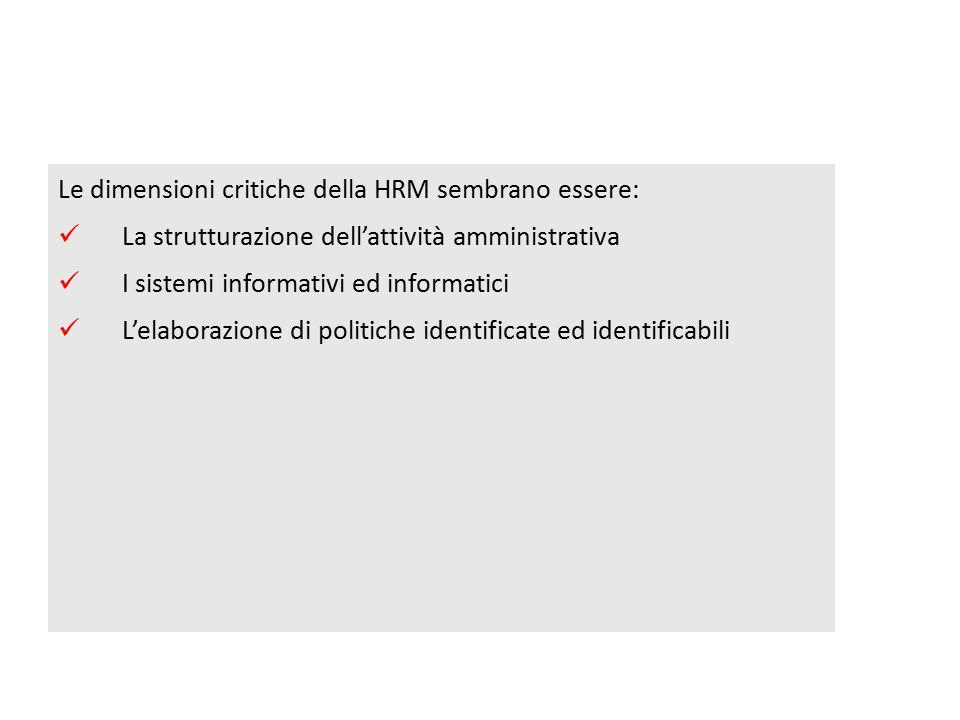 Le dimensioni critiche della HRM sembrano essere: La strutturazione dell'attività amministrativa I sistemi informativi ed informatici L'elaborazione di politiche identificate ed identificabili