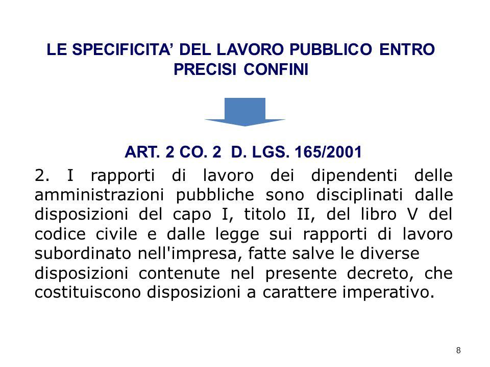 8 LE SPECIFICITA' DEL LAVORO PUBBLICO ENTRO PRECISI CONFINI ART. 2 CO. 2 D. LGS. 165/2001 2. I rapporti di lavoro dei dipendenti delle amministrazioni