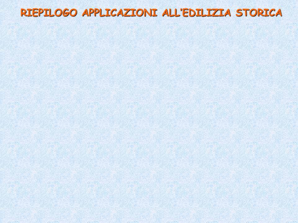 RIEPILOGO APPLICAZIONI ALL'EDILIZIA STORICA