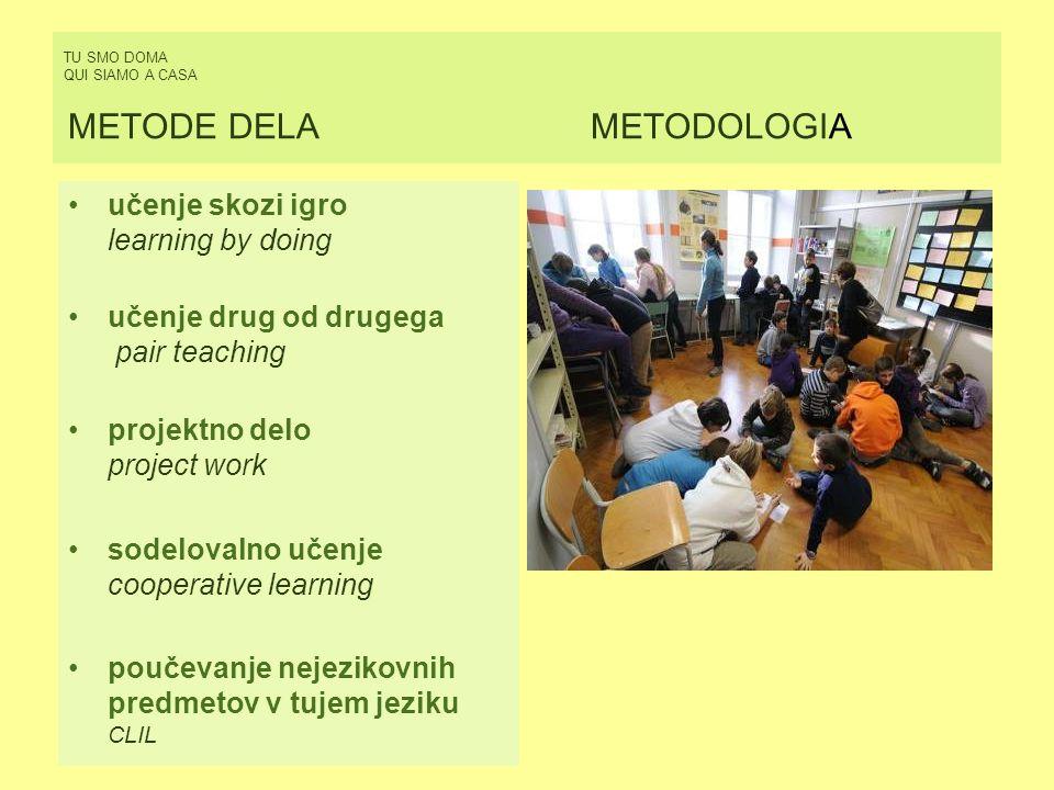 TU SMO DOMA QUI SIAMO A CASA METODE DELAMETODOLOGIA učenje skozi igro learning by doing učenje drug od drugega pair teaching projektno delo project wo