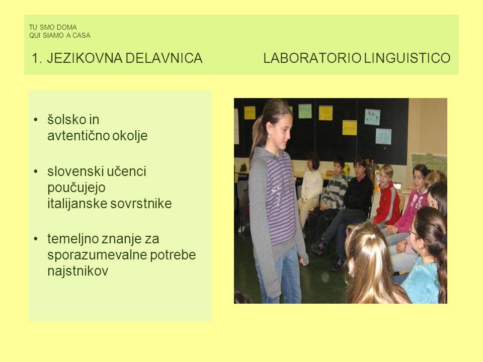 TU SMO DOMA QUI SIAMO A CASA 1. JEZIKOVNA DELAVNICA LABORATORIO LINGUISTICO šolsko in avtentično okolje slovenski učenci poučujejo italijanske sovrstn
