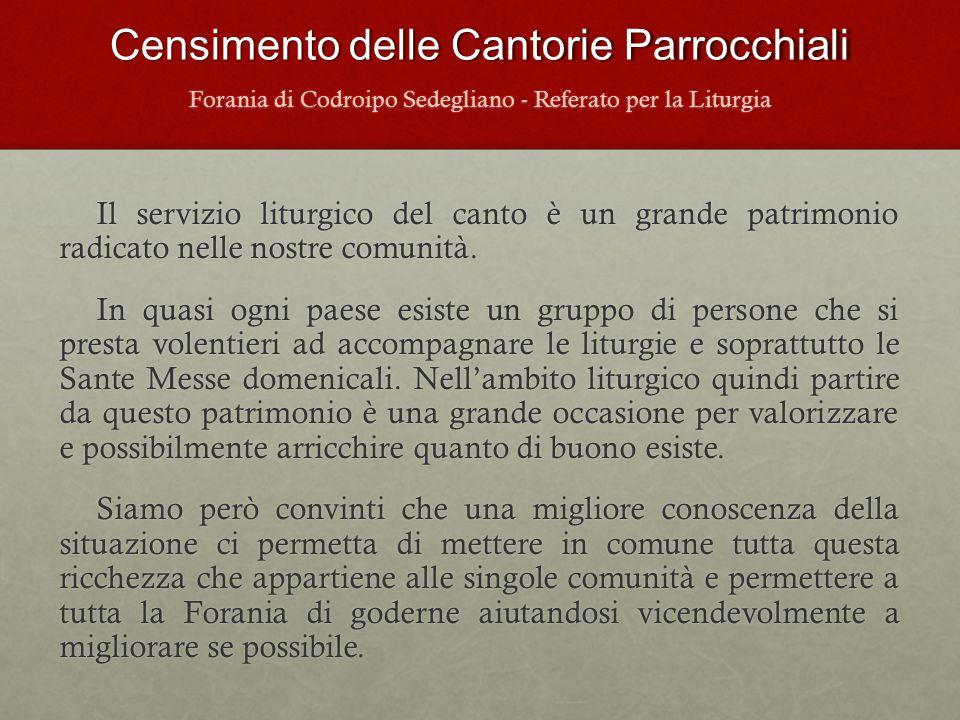 Censimento delle Cantorie Parrocchiali Censimento 2013 n.