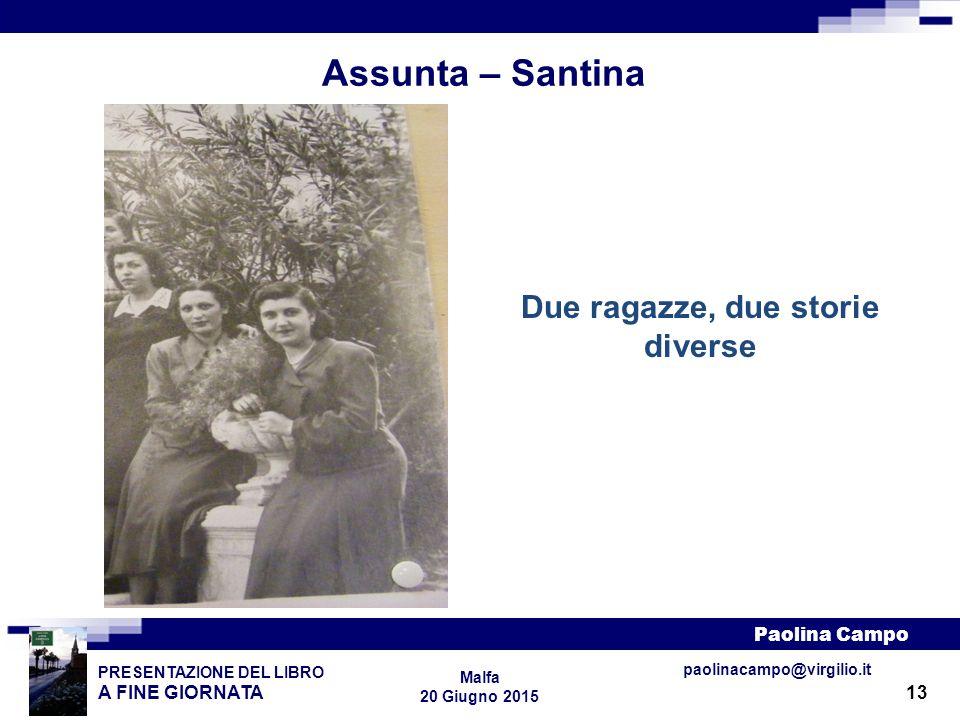 13 PRESENTAZIONE DEL LIBRO A FINE GIORNATA Paolina Campo Malfa 20 Giugno 2015 paolinacampo@virgilio.it Assunta – Santina Due ragazze, due storie diver