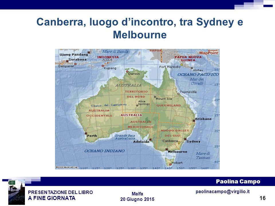 16 PRESENTAZIONE DEL LIBRO A FINE GIORNATA Paolina Campo Malfa 20 Giugno 2015 paolinacampo@virgilio.it Canberra, luogo d'incontro, tra Sydney e Melbou