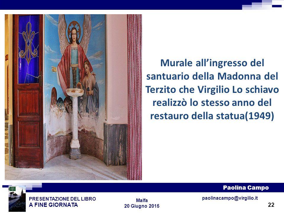 22 PRESENTAZIONE DEL LIBRO A FINE GIORNATA Paolina Campo Malfa 20 Giugno 2015 paolinacampo@virgilio.it Murale all'ingresso del santuario della Madonna