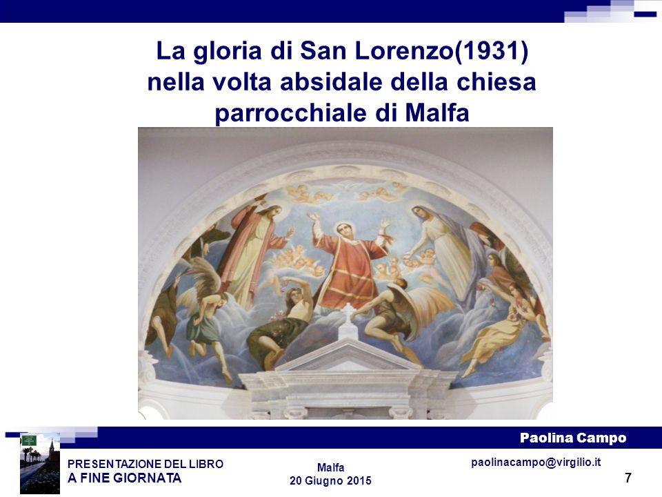 8 PRESENTAZIONE DEL LIBRO A FINE GIORNATA Paolina Campo Malfa 20 Giugno 2015 paolinacampo@virgilio.it Il martirio di San Lorenzo(1931), tela 4x4 attaccata al soffitto del transetto della chiesa parrocchiale di Malfa