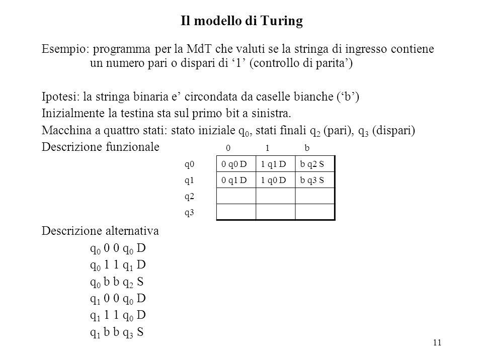 11 Il modello di Turing Esempio: programma per la MdT che valuti se la stringa di ingresso contiene un numero pari o dispari di '1' (controllo di pari