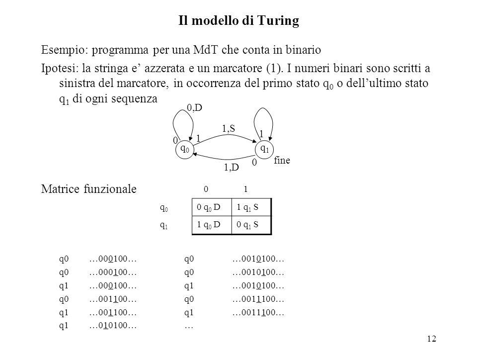 12 Il modello di Turing Esempio: programma per una MdT che conta in binario Ipotesi: la stringa e' azzerata e un marcatore (1). I numeri binari sono s
