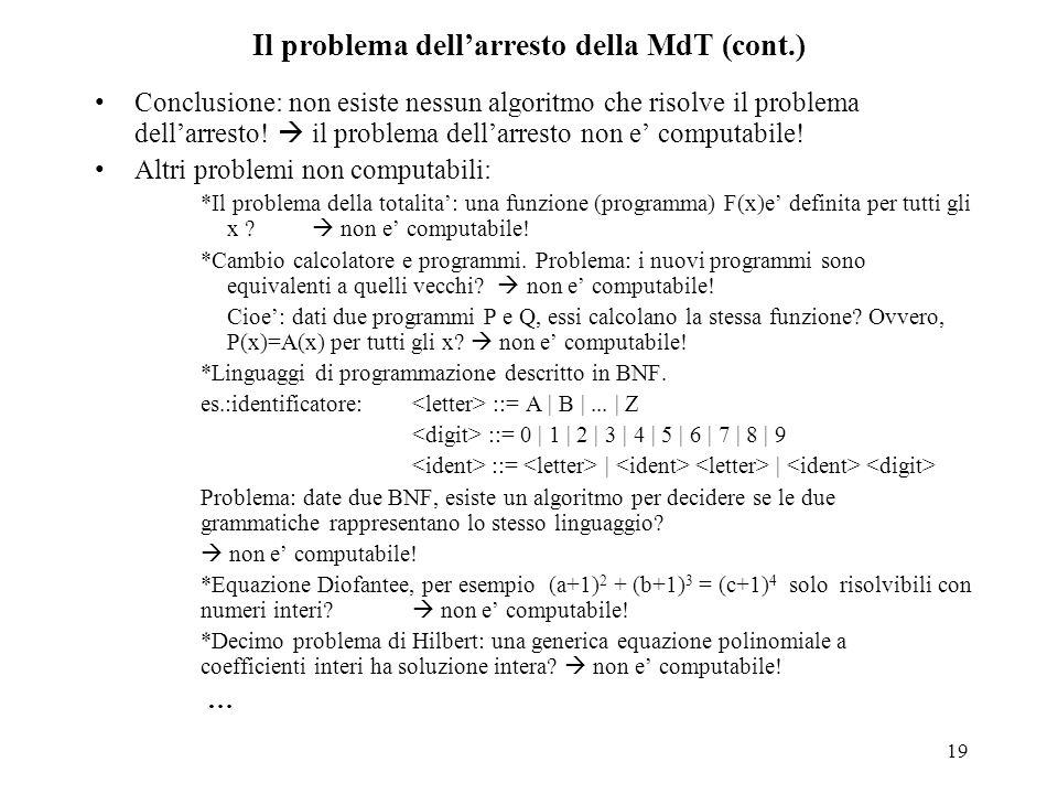 19 Il problema dell'arresto della MdT (cont.) Conclusione: non esiste nessun algoritmo che risolve il problema dell'arresto!  il problema dell'arrest