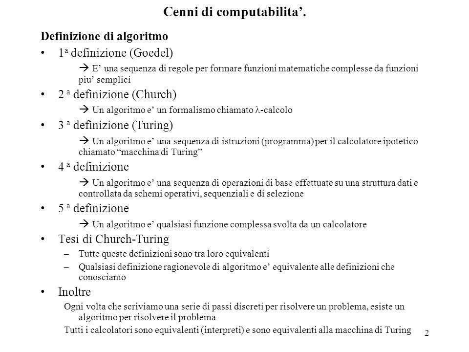2 Cenni di computabilita'. Definizione di algoritmo 1 a definizione (Goedel)  E' una sequenza di regole per formare funzioni matematiche complesse da