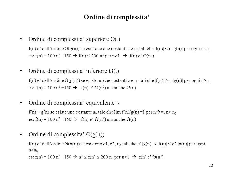 22 Ordine di complessita' Ordine di complessita' superiore O(.) f(n) e' dell'ordine O(g(n)) se esistono due costanti c e n 0 tali che |f(n)|  c |g(n