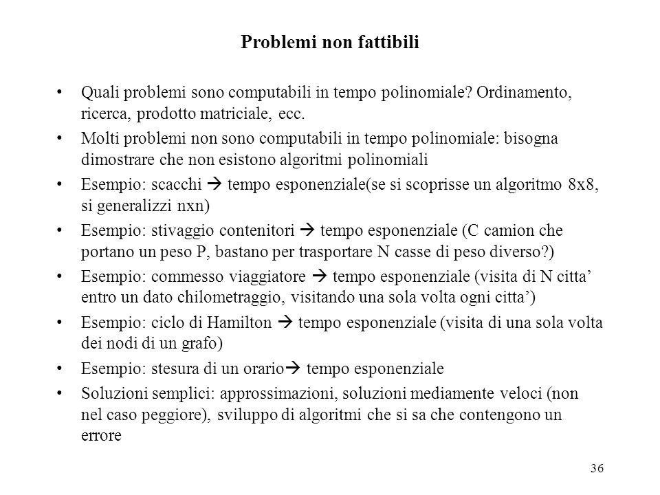 36 Problemi non fattibili Quali problemi sono computabili in tempo polinomiale? Ordinamento, ricerca, prodotto matriciale, ecc. Molti problemi non son