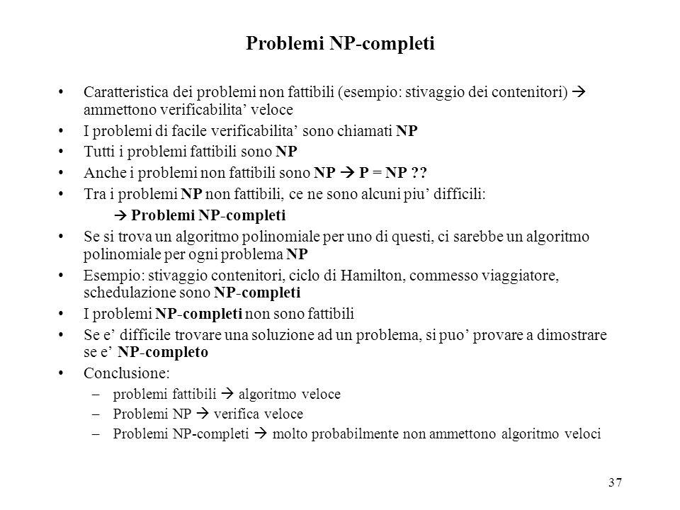 37 Problemi NP-completi Caratteristica dei problemi non fattibili (esempio: stivaggio dei contenitori)  ammettono verificabilita' veloce I problemi d