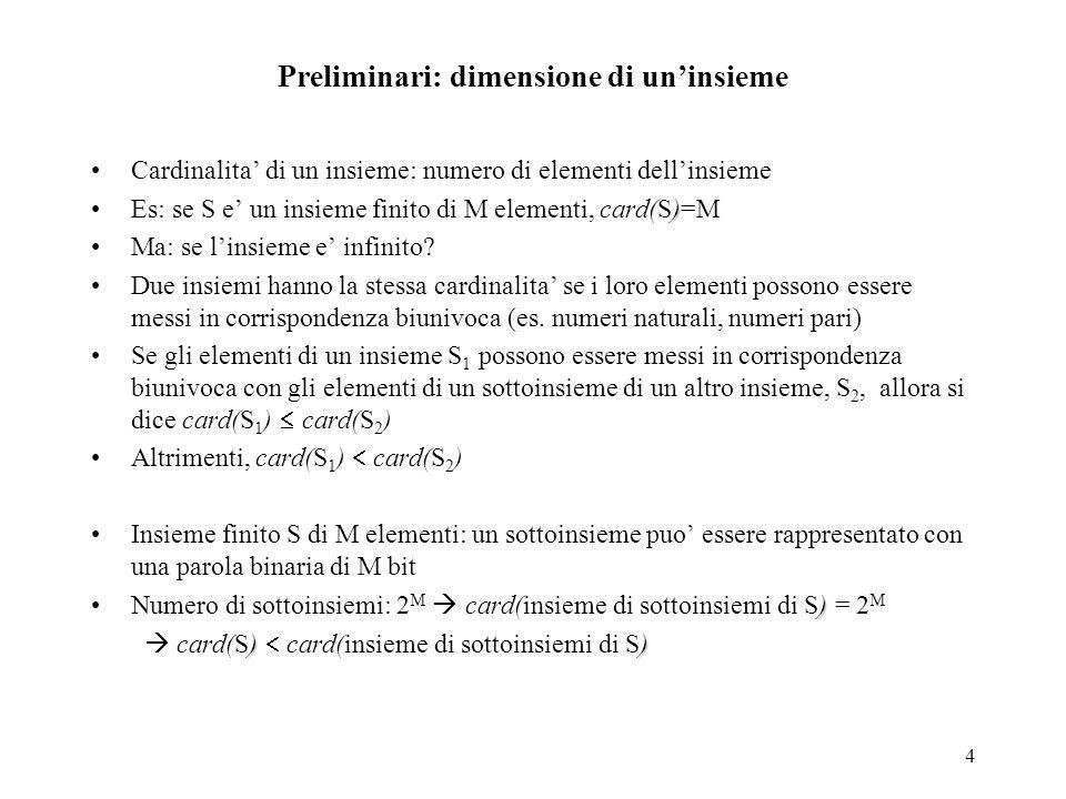 5 Preliminari: dimensione di un'insieme (cont) Cardinalità dei numeri naturali, N, e dell'insieme dei sottoinsiemi di N Un sottoinsieme di N si puo' rappresentare con un numero binario di infinite cifre C'e' corrispondenza biunivoca tra N e numeri binari di infinite cifre.