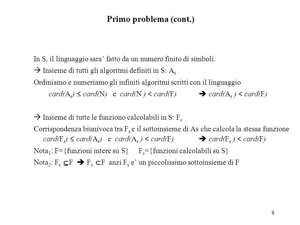 8 Primo problema (cont.) In S, il linguaggio sara' fatto da un numero finito di simboli.  Insieme di tutti gli algoritmi definiti in S: A s Ordiniamo