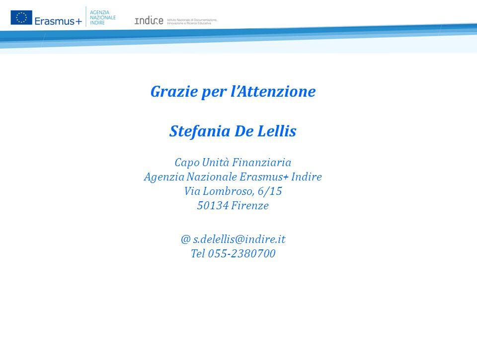 Grazie per l'Attenzione Stefania De Lellis Capo Unità Finanziaria Agenzia Nazionale Erasmus+ Indire Via Lombroso, 6/15 50134 Firenze @ s.delellis@indire.it Tel 055-2380700