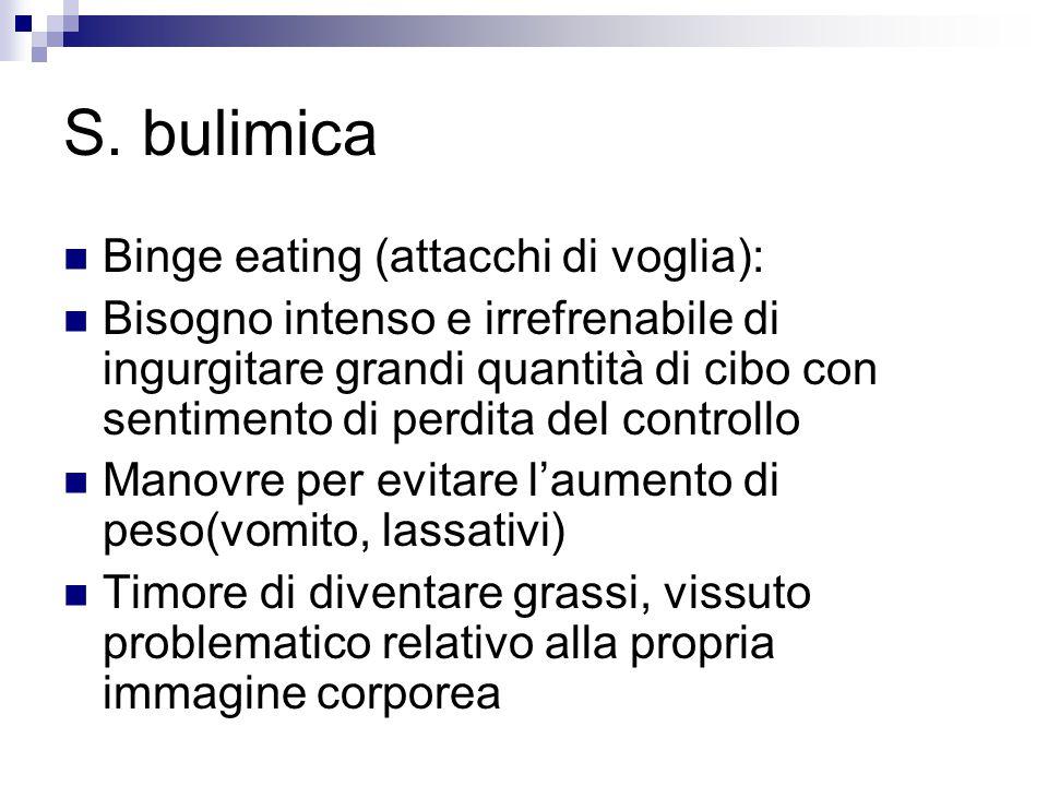 S. bulimica Binge eating (attacchi di voglia): Bisogno intenso e irrefrenabile di ingurgitare grandi quantità di cibo con sentimento di perdita del co
