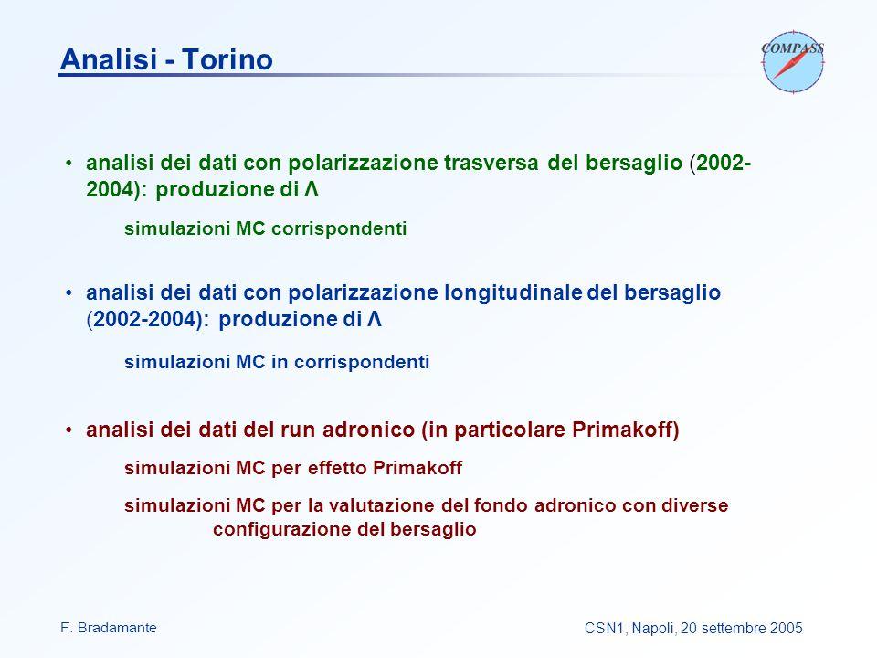 F. BradamanteCSN1, Napoli, 20 settembre 2005 Analisi - Torino analisi dei dati con polarizzazione trasversa del bersaglio (2002- 2004): produzione di