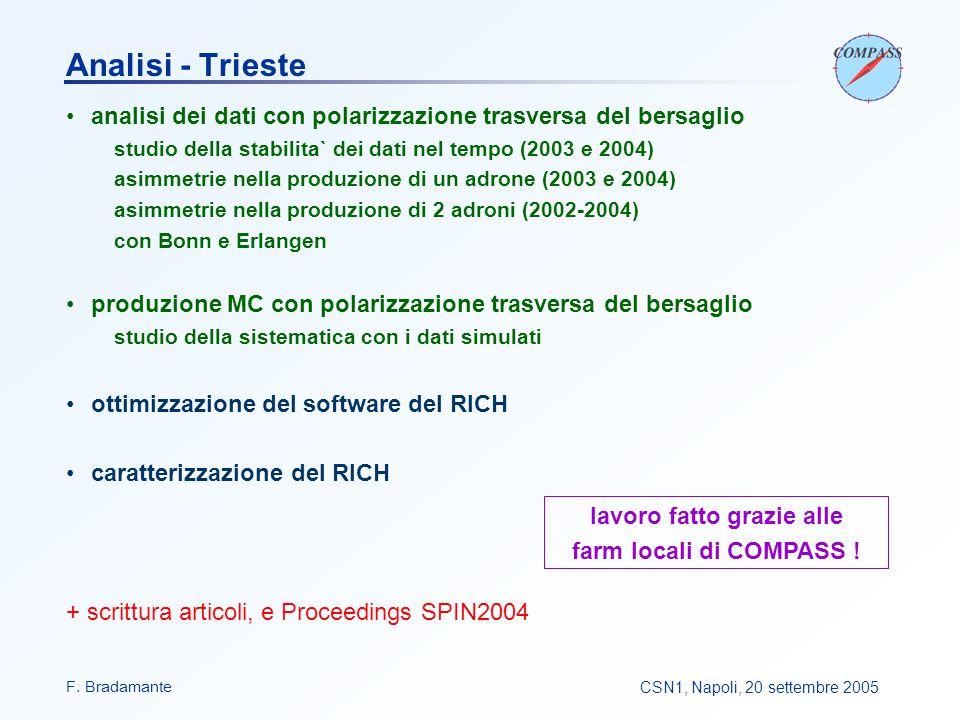 F. BradamanteCSN1, Napoli, 20 settembre 2005 Analisi - Trieste analisi dei dati con polarizzazione trasversa del bersaglio studio della stabilita` dei