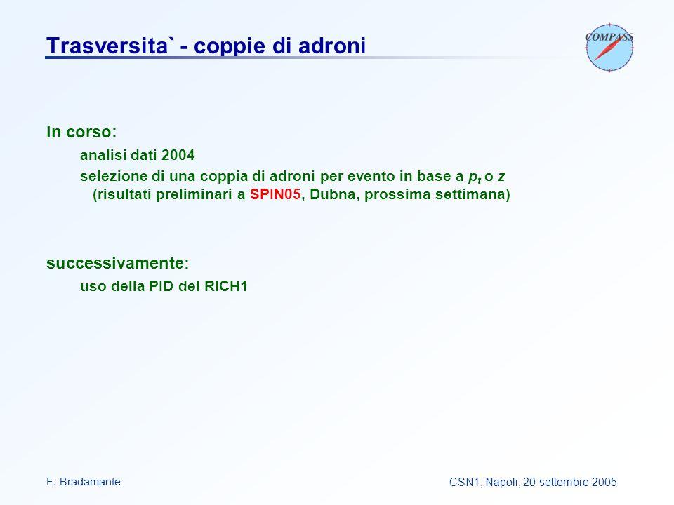 F. BradamanteCSN1, Napoli, 20 settembre 2005 Trasversita` - coppie di adroni in corso: analisi dati 2004 selezione di una coppia di adroni per evento