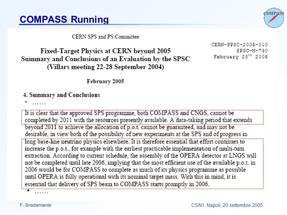 F. BradamanteCSN1, Napoli, 20 settembre 2005 COMPASS Running......