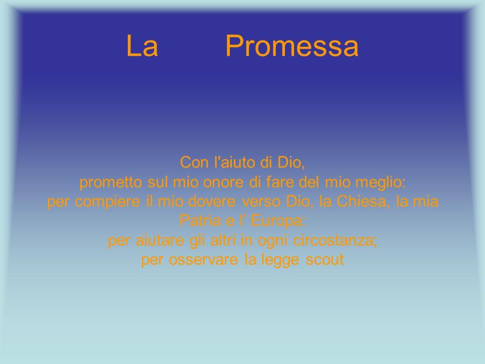 La Promessa Con l'aiuto di Dio, prometto sul mio onore di fare del mio meglio: per compiere il mio dovere verso Dio, la Chiesa, la mia Patria e l' Eur