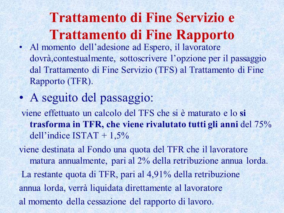 Trattamento di Fine Servizio e Trattamento di Fine Rapporto Al momento dell'adesione ad Espero, il lavoratore dovrà,contestualmente, sottoscrivere l'opzione per il passaggio dal Trattamento di Fine Servizio (TFS) al Trattamento di Fine Rapporto (TFR).