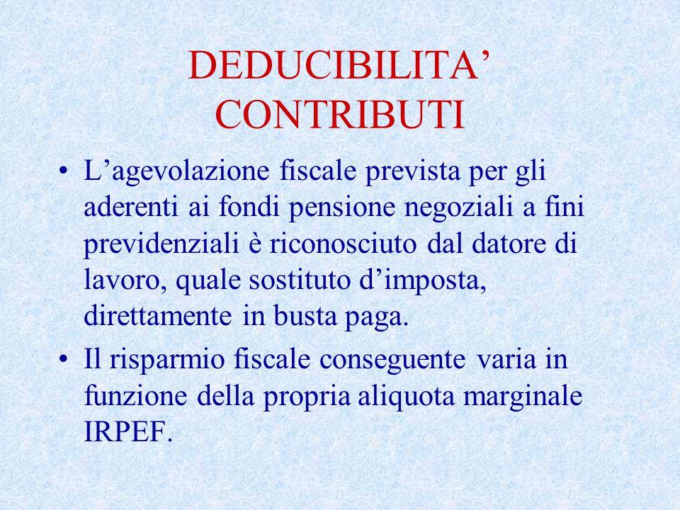 DEDUCIBILITA' CONTRIBUTI L'agevolazione fiscale prevista per gli aderenti ai fondi pensione negoziali a fini previdenziali è riconosciuto dal datore di lavoro, quale sostituto d'imposta, direttamente in busta paga.