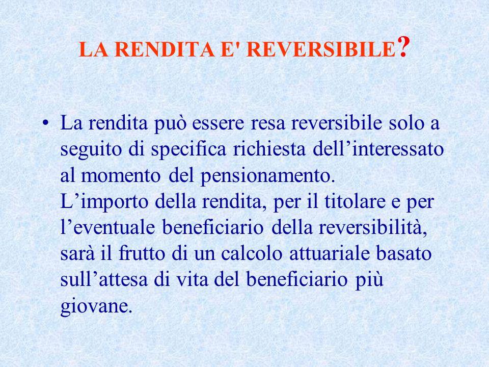 LA RENDITA E REVERSIBILE .
