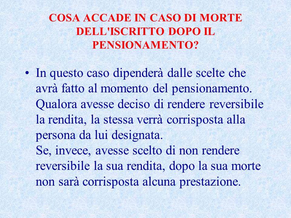 COSA ACCADE IN CASO DI MORTE DELL ISCRITTO DOPO IL PENSIONAMENTO.