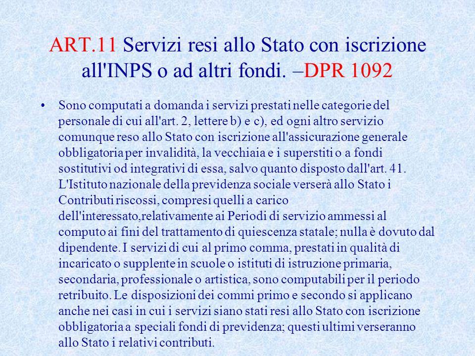 ART.11 Servizi resi allo Stato con iscrizione all INPS o ad altri fondi.