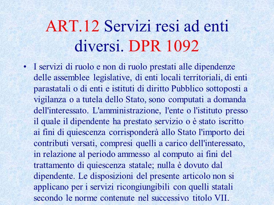 ART.12 Servizi resi ad enti diversi.