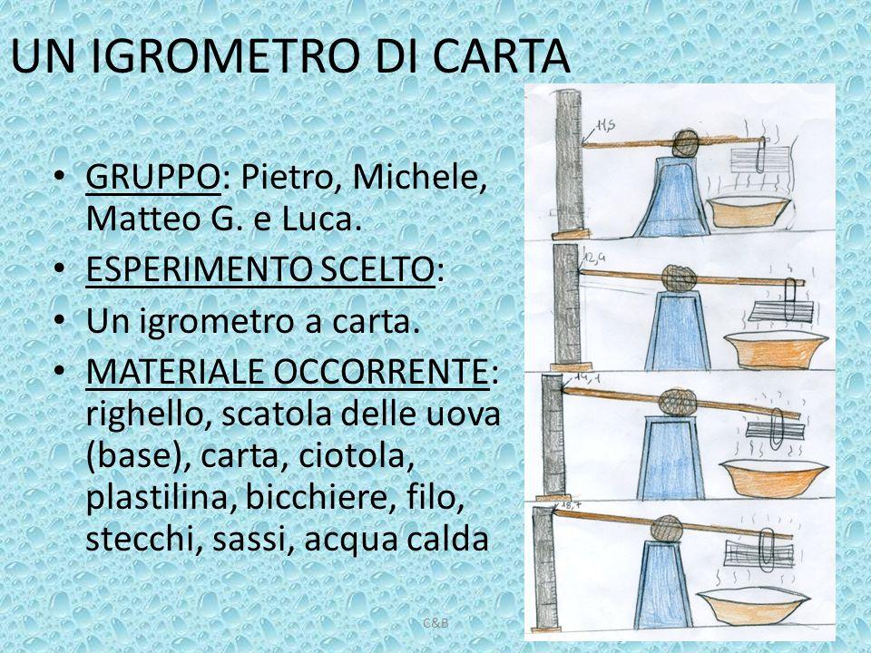 UN IGROMETRO DI CARTA GRUPPO: Pietro, Michele, Matteo G. e Luca. ESPERIMENTO SCELTO: Un igrometro a carta. MATERIALE OCCORRENTE: righello, scatola del