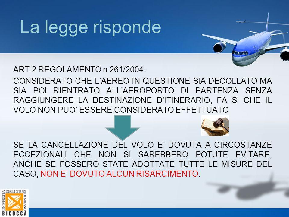 La legge risponde ART.2 REGOLAMENTO n 261/2004 : CONSIDERATO CHE L'AEREO IN QUESTIONE SIA DECOLLATO MA SIA POI RIENTRATO ALL'AEROPORTO DI PARTENZA SEN