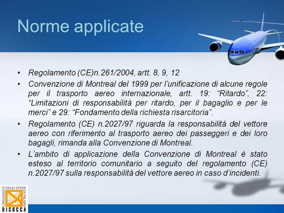 Norme applicate Regolamento (CE)n.261/2004, artt. 8, 9, 12 Convenzione di Montreal del 1999 per l'unificazione di alcune regole per il trasporto aereo